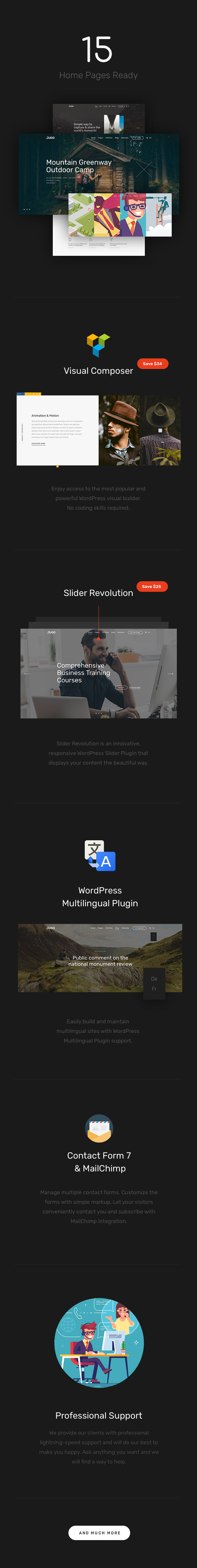 jugo-wp-features Jugo — Responsive Multipurpose WordPress Theme theme WordPress